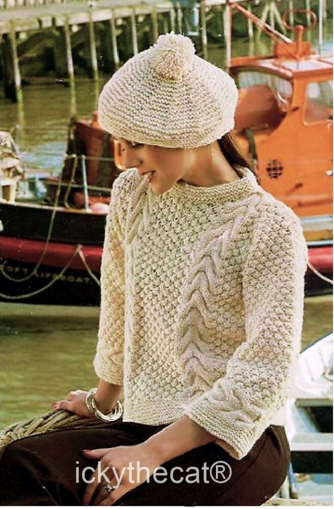 PDF Digital Download  Vintage Knitting Pattern Womens Ladies Childs  Aran