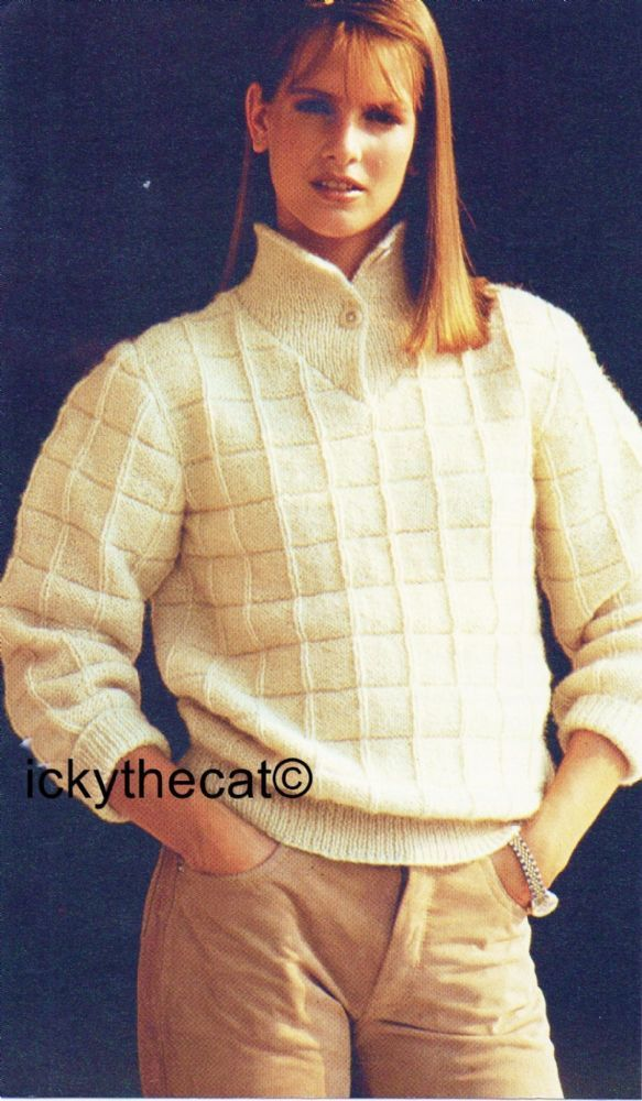 PDF Digital Download Vintage Knitting Pattern Ladies Womens Textured Sweater