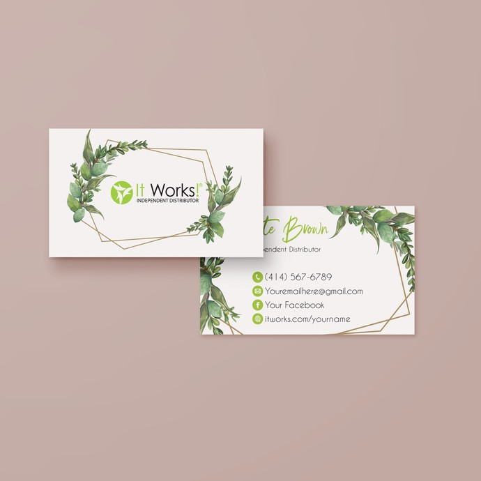 Greenery It Works Business Cards, It Works Global Cards, It Works Products IW15