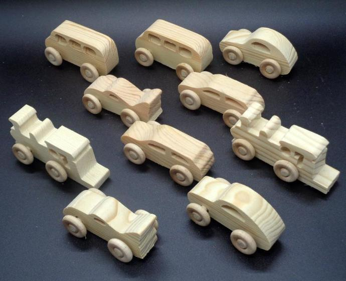 7 Handcrafted Wood Toy Vehicles   OT-38  unfinished or finished