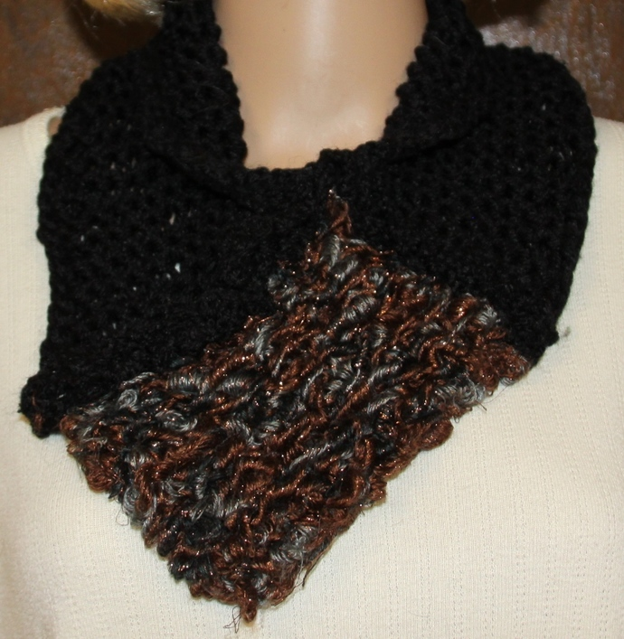 Black Cowl with Gold Silver Accent Hand Knit