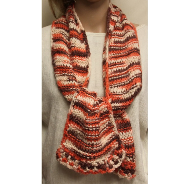 Scarf Hand Knit Peach and Tan