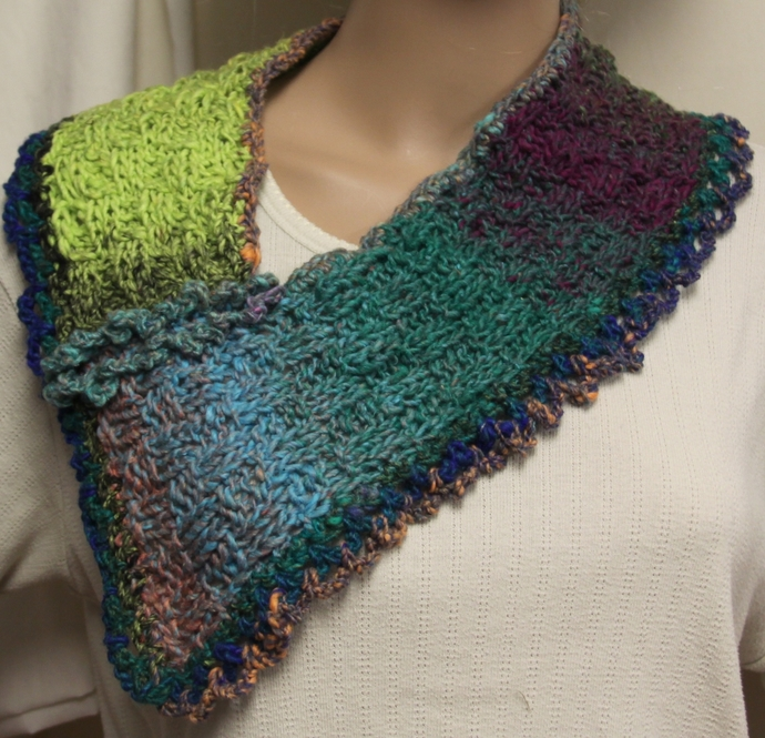 Hand Knit Cowl Wool Blend Multicolor Green Blue