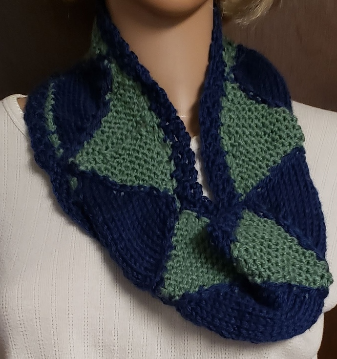 Navy and Green Geometric Pattern Hand Knit Scarf Cowl