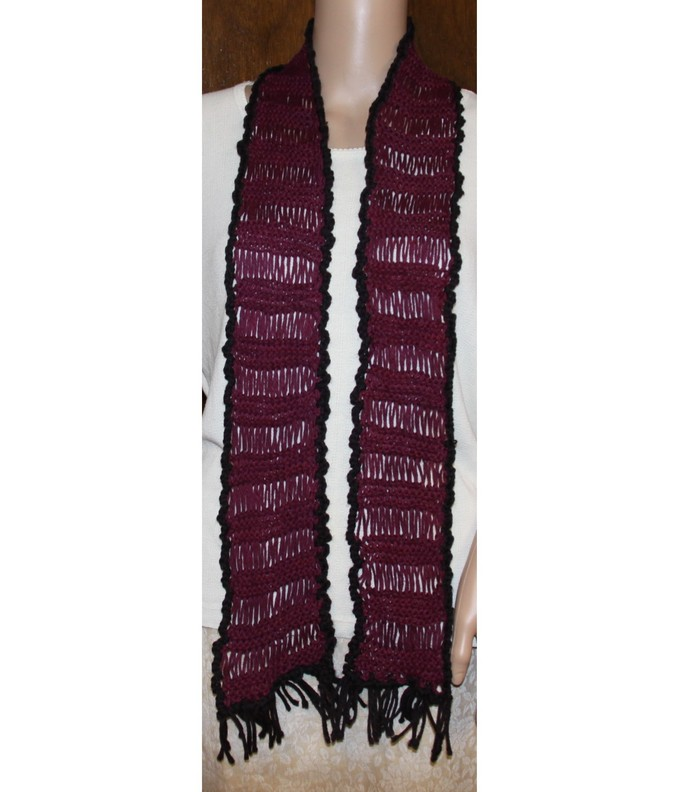 Hand Knit Lacy Scarf Magenta and Black