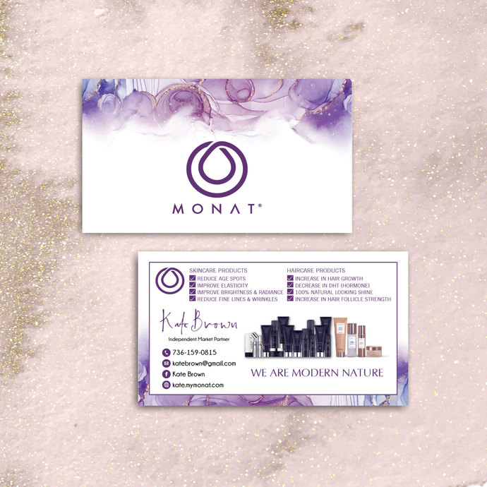 Watercolor Monat Business Cards, Personalized Monat Hair Care Cards MN17