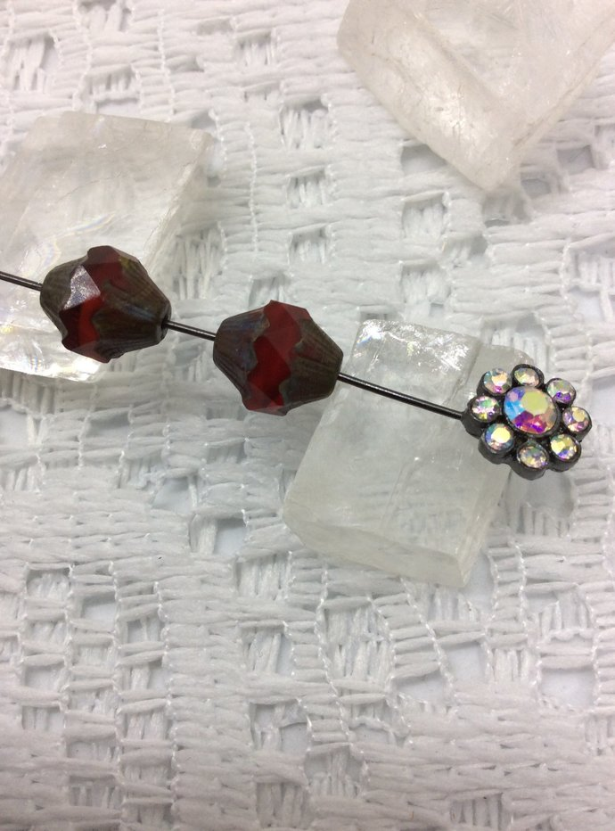 Red Czech glass turbine beads for jewelry making and arts and crafts