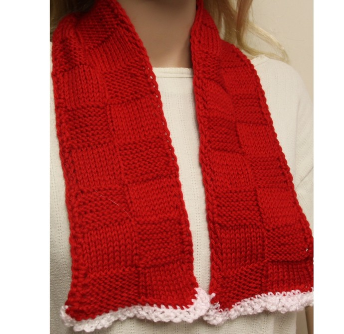 Red Scarf Hand Knit Cowl