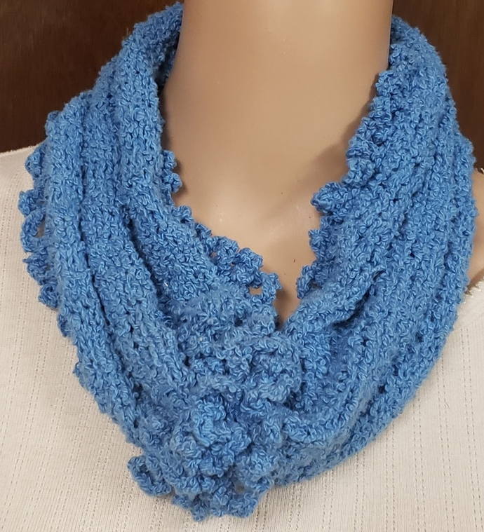 Turquoise Infinity Cowl Scarf - Hand Knit