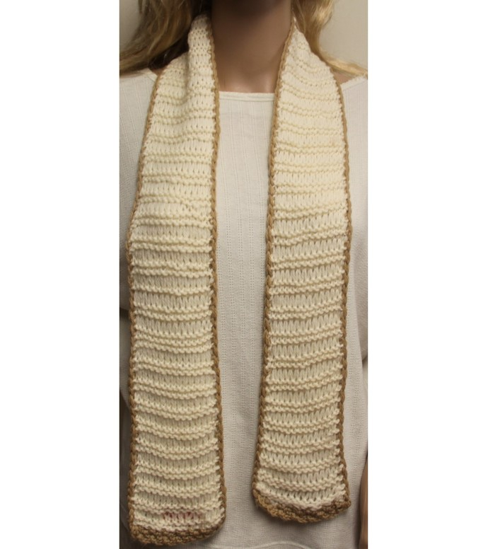Scarf White with Tan Trim Hand Crochet