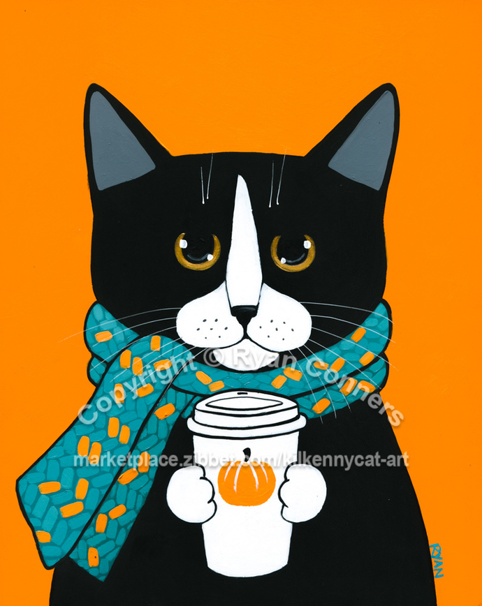 Autumn Tuxedo Cat With Pumpkin Coffee Original Cat Folk Art Painting