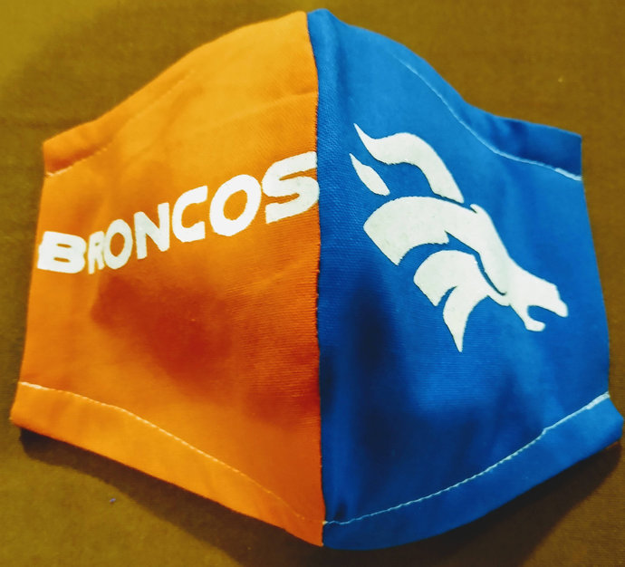Face Mask, Denver Broncos, Two layers, 100% Cotton, adult, kid, toddler sizes,