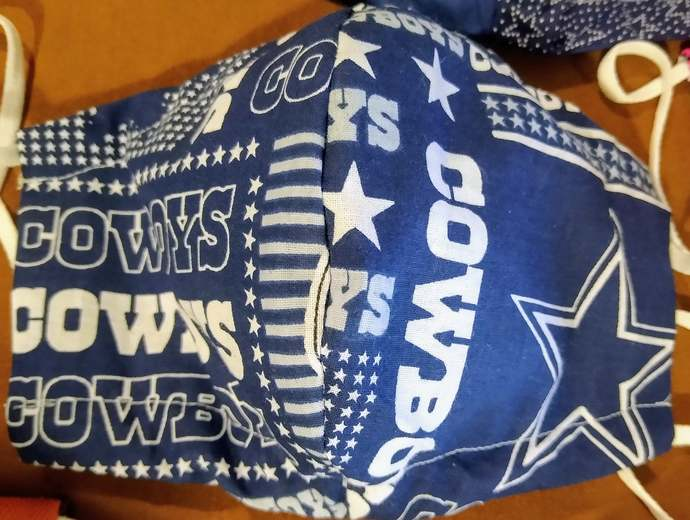 Face Mask, Dallas Cowboys, Two layers, 100% Cotton, adult, kid, toddler sizes,