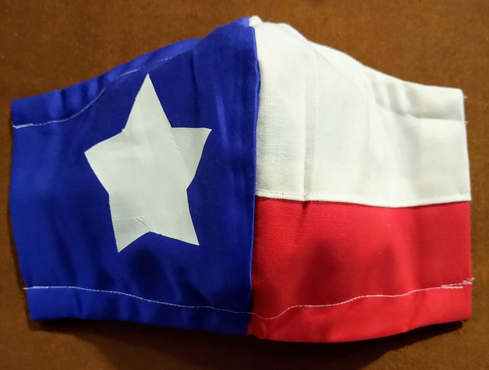 Face Mask, Texas Flag, Reversible Two layers, 100% Cotton, adult kid toddler