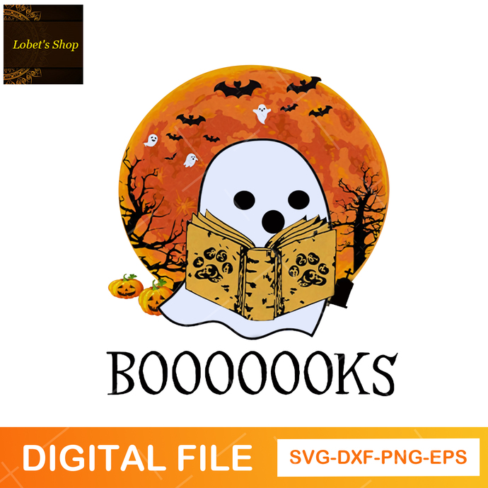 Halloween Reading SVG, PNG, Ghost Books, Librarian Halloween, Teacher, Booooks