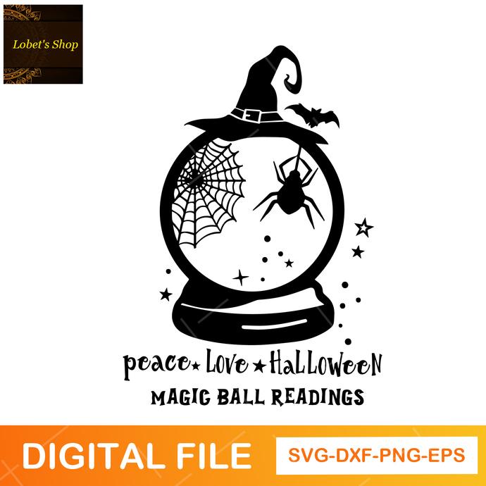 Peace Love Halloween Svg, Magic Ball Readings Svg, Halloween Svg