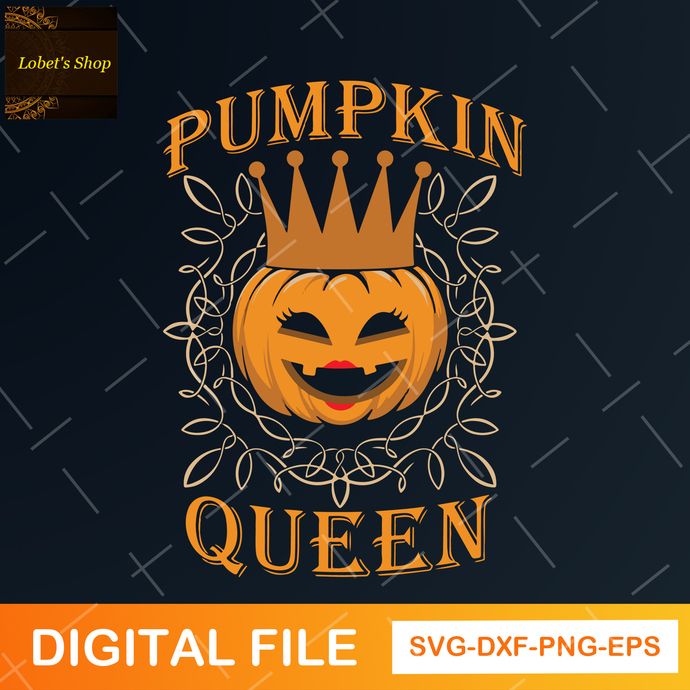 Pumpkin Queen Svg, Autumn Svg, Halloween Svg, Queen Svg, Svg Files for Cricut