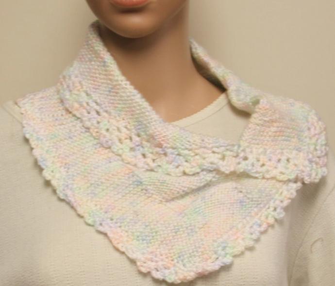 Peach & Cream Infinity Cowl Scarf Hand Crocheted