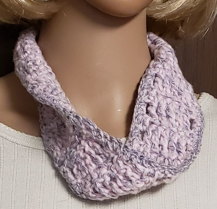 Pink & Lavender Hand Crochet Cowl Scarf