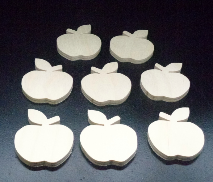 Pkg of 8   Apples  Unfinished Wood Cutouts WCO-28-25
