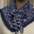 Blue White Cowl Hand Knit
