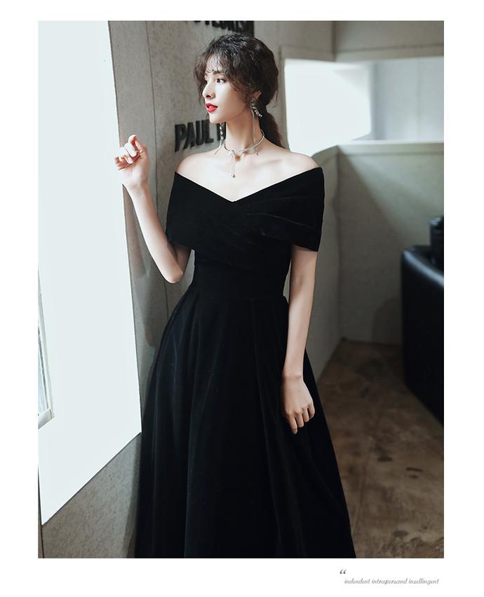 Black Velvet Tea Length Off Shoulder Party Dres, Short Black Wedding Party Dress