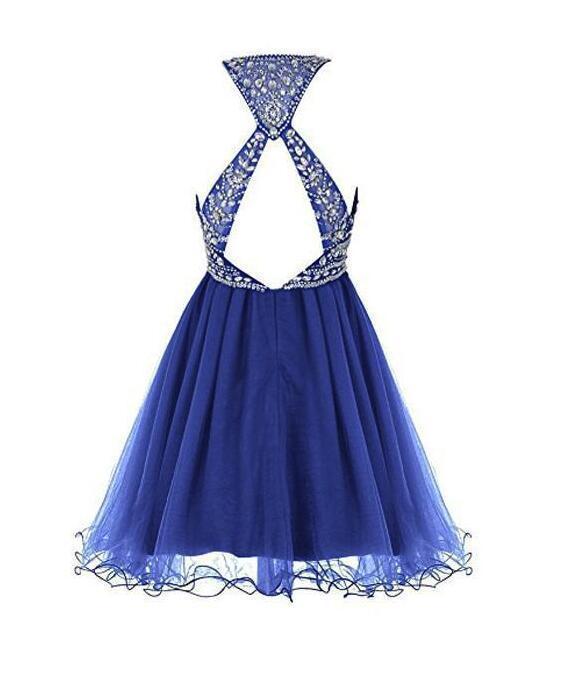 Roayl Blue Tulle Beaded Short Homecoming Dress, Cute Sparkle Short Prom Dress
