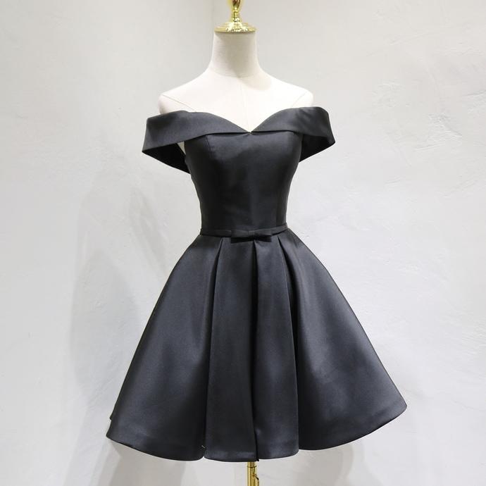 Fashionable Black Knee Length Sweetheart Satin Party Dress, Black Homecoming