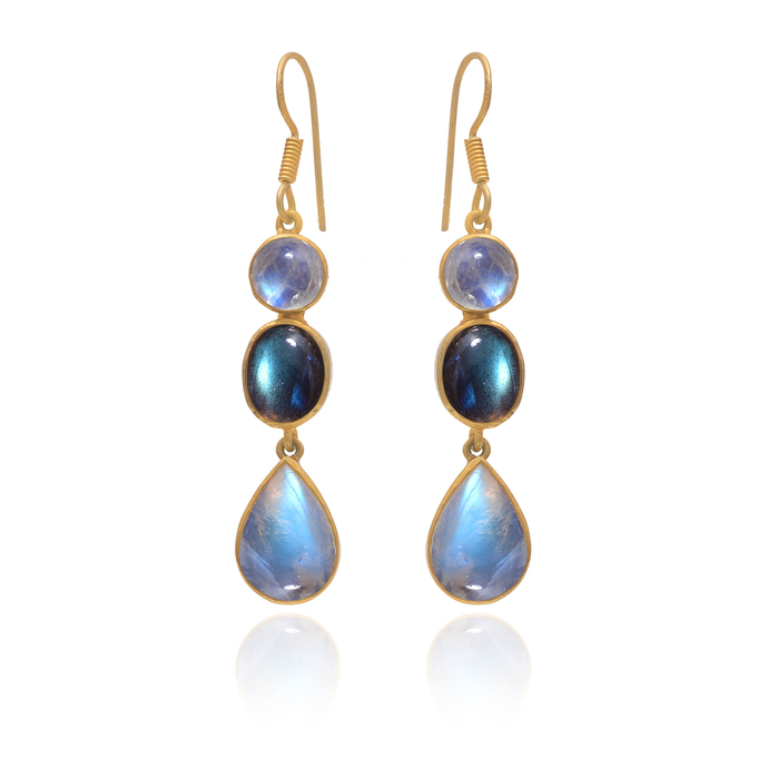 925 Sterling Silver Labradorite Dangler Earring, Moonstone Drop Earring,