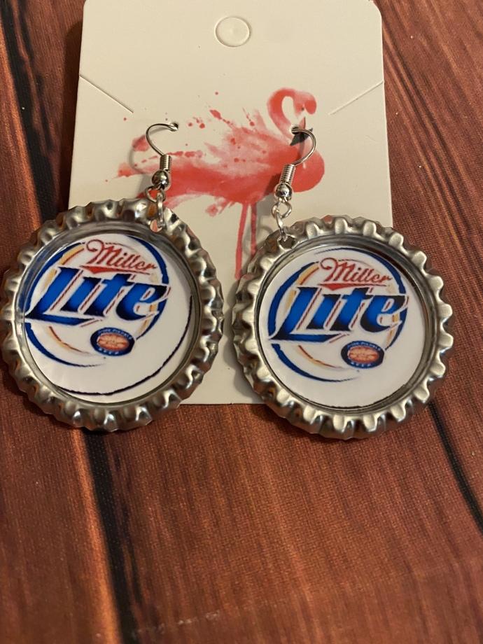 Beer earrings, handmade beer dangle earrings