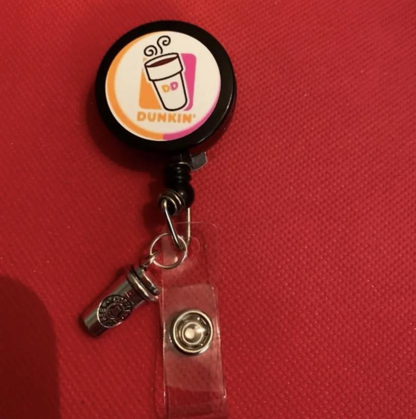 Dunkin donut badge reel, handmade donut badge reel