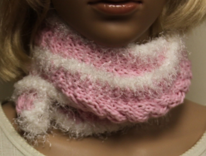 Pink and White Fun Fur Hand Knit Scarf