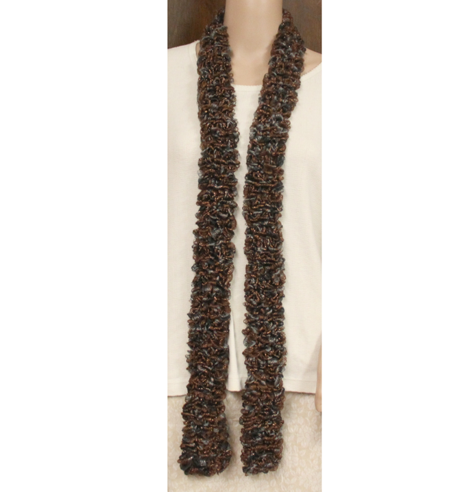Brown Gray Gold Fleck Scarf Hand Knit