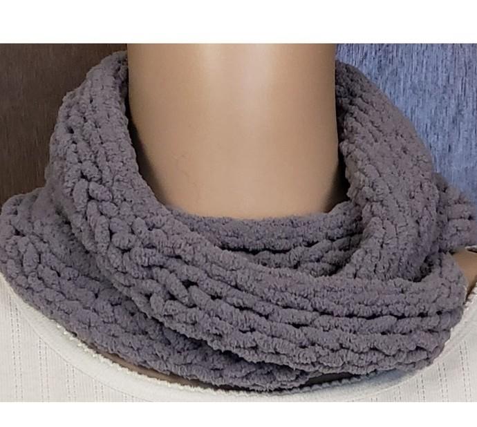 Grey Chunky Infinity Scarf Hand Knit