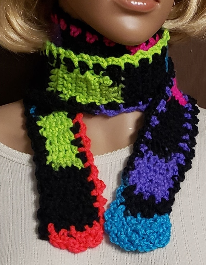 Neon Scarf Hand Knit