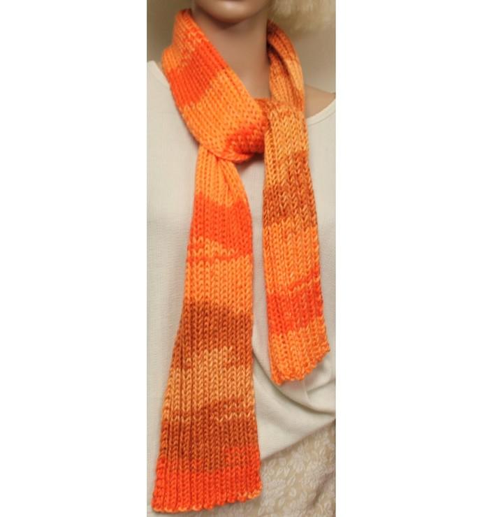 Orange Hand Knit Scarf