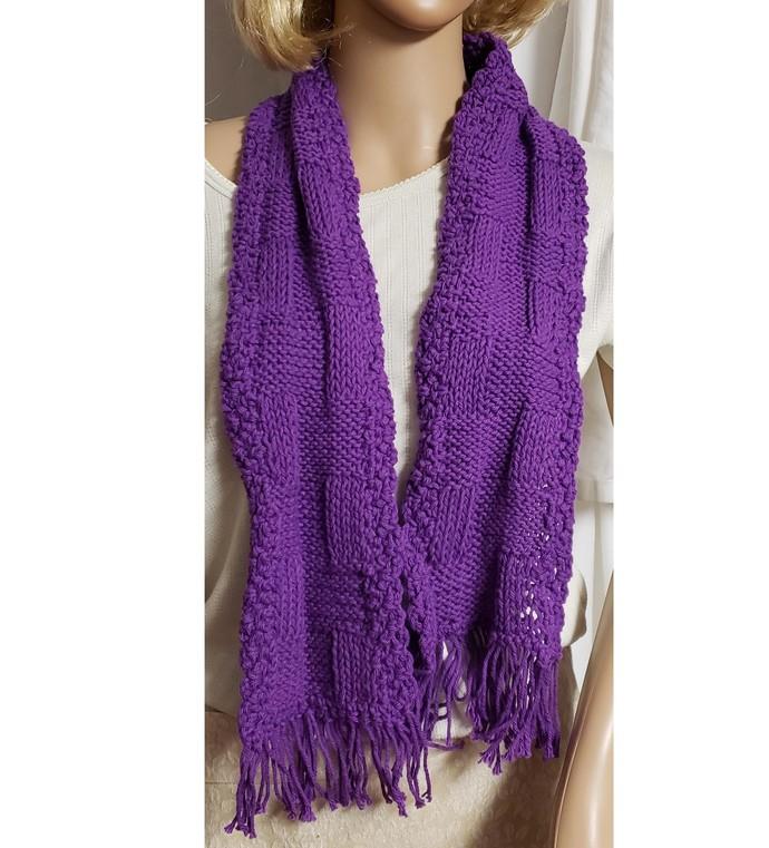 Purple Scarf Hand Knit