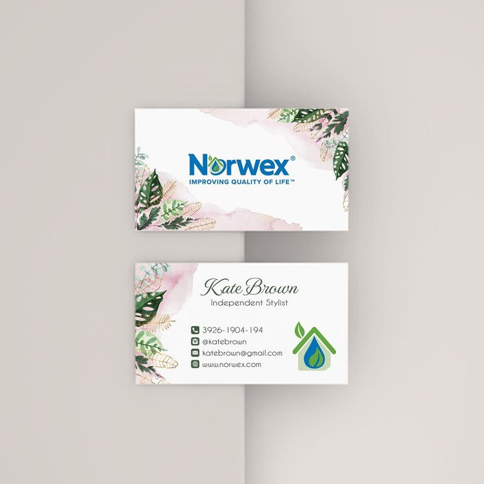 Leaves Norwex Business Cards, Personalized Gold Norwex Template NW11