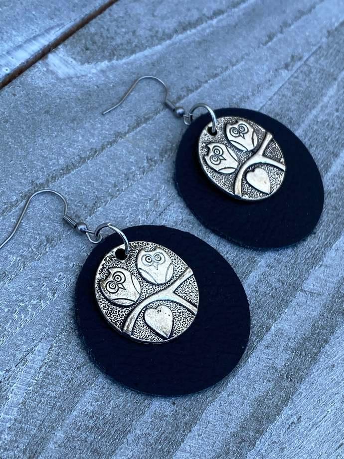 Leather Owl Earrings