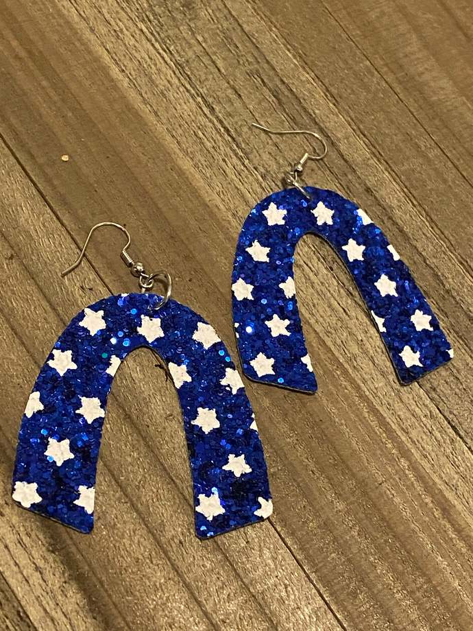 Blue Star Glitter Earrings
