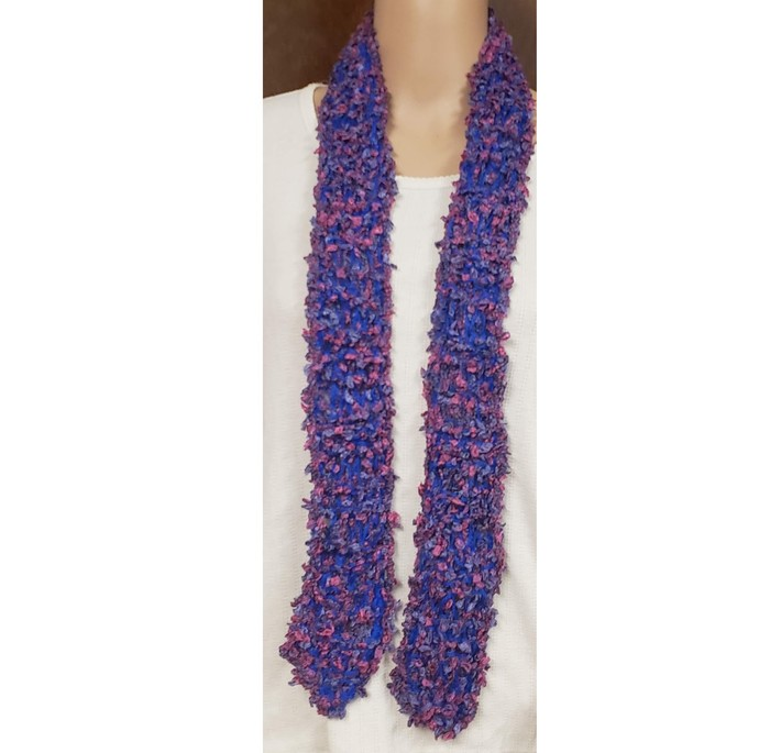 Blue & Rose Scarf Hand Knit