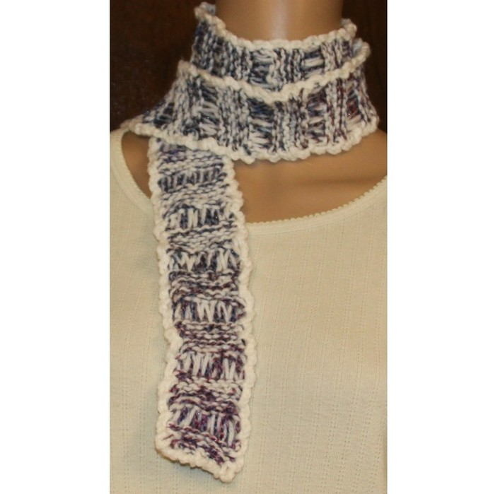 White Blue Lavender Hand Knit Scarf