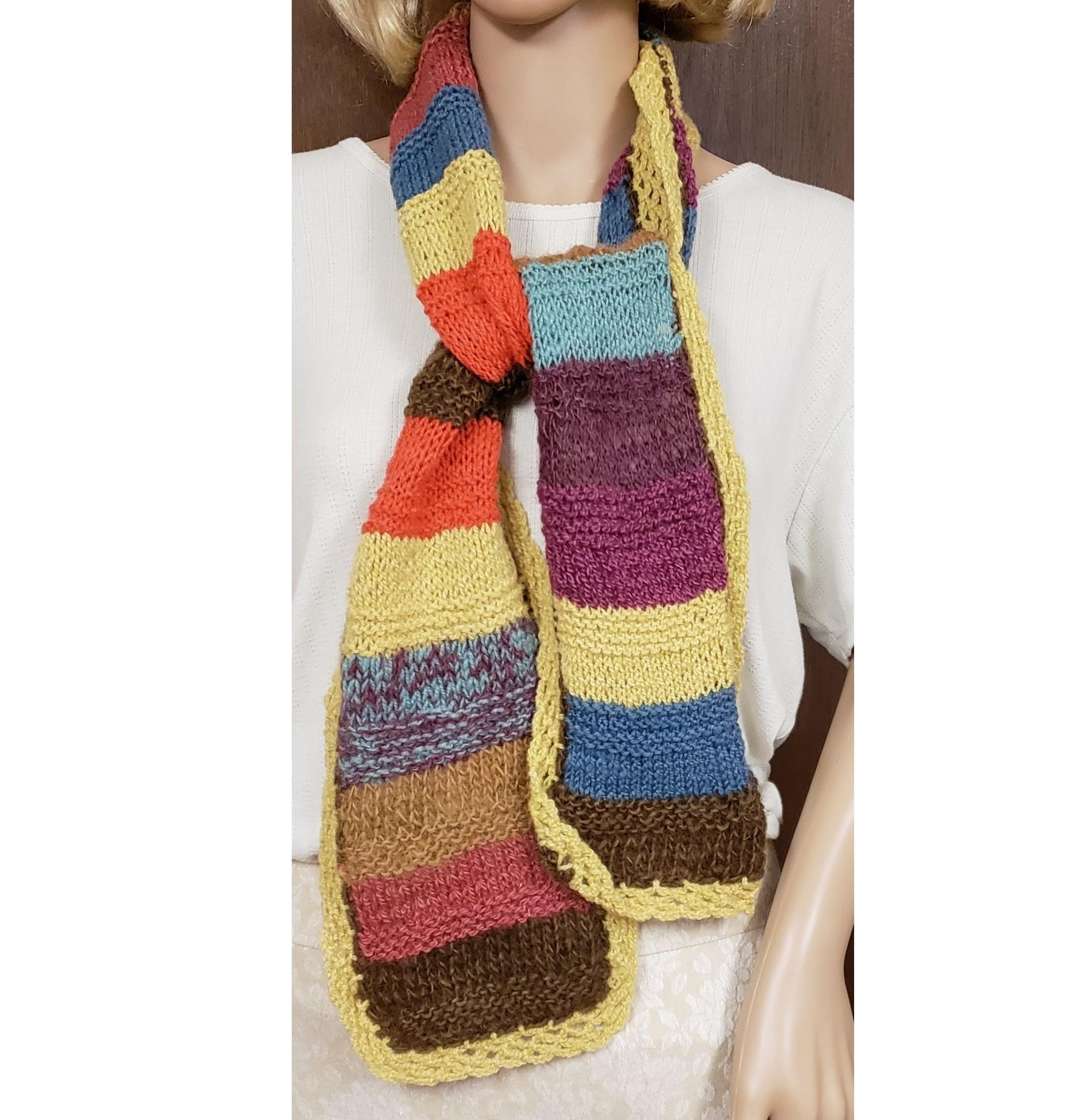 Wool Scarf Hand Knit Stripes Gold Trim