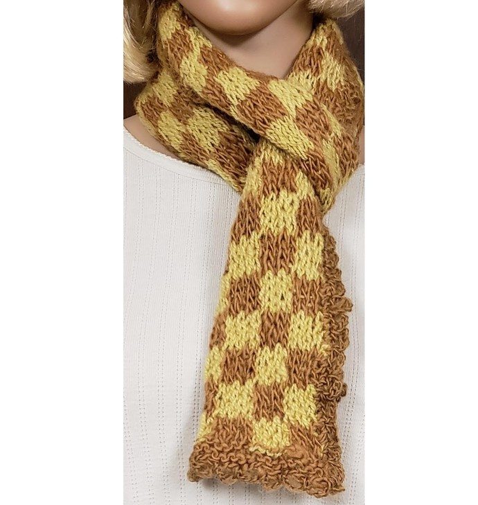 Wool Scarf Hand Knit Gold and Yellow