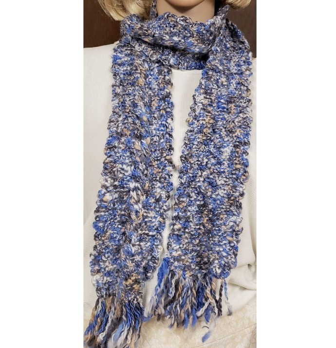 Scarf Hand Knit Blue White Tan Cable