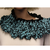 Turquoise and Black Hand Knit Infinity Cowl