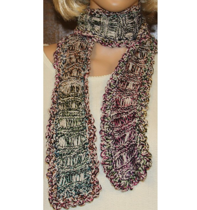 Multicolor Scarf Hand Knit Rust White Green Blue