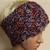 Button Hand Knit Headband Hat- White, Rust, & Blue