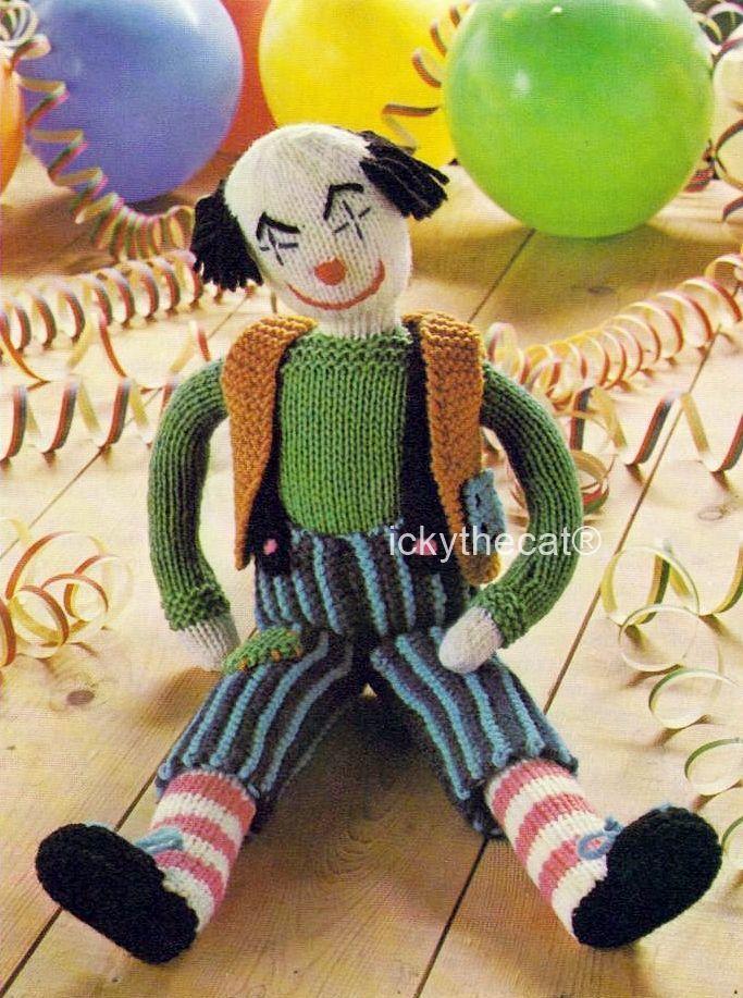 Digital Download PDF Vintage Knitting Pattern Clown Rag Doll  16-17 inches