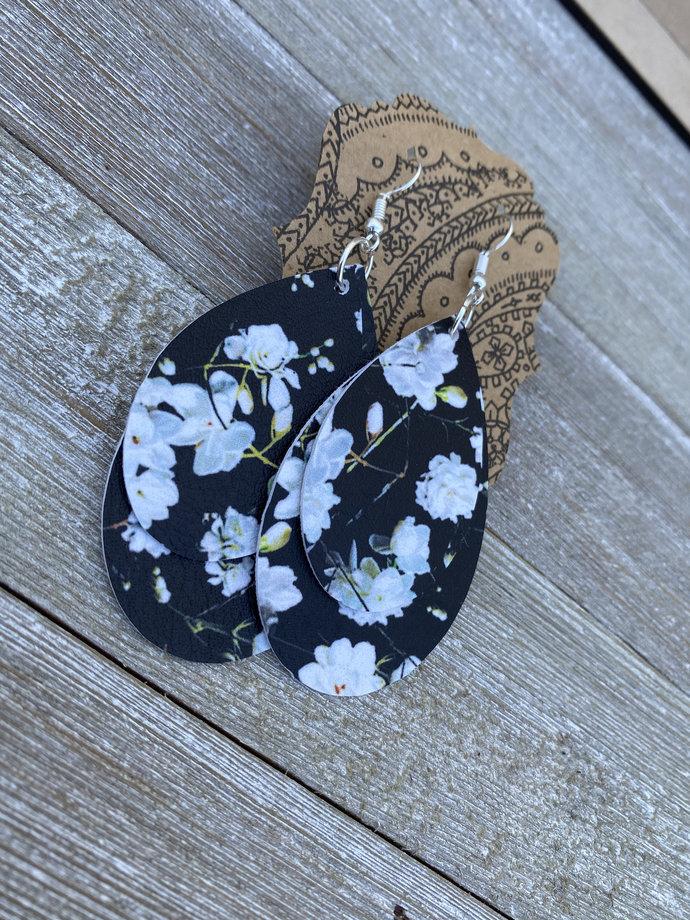 Black Rose Flower Earrings